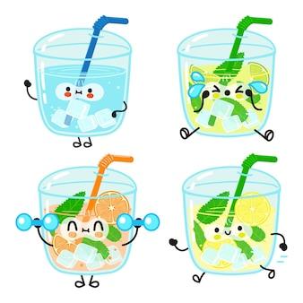 Grappig schattig gelukkig water mojito sinaasappelsap limonade stripfiguren bundel set