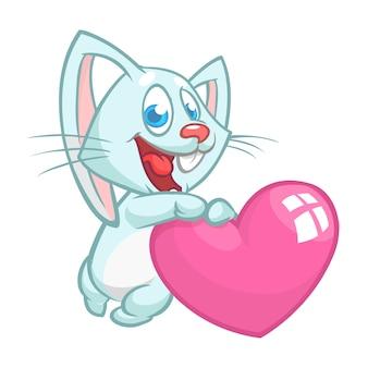 Grappig schattig konijntje met hart liefde cartoon.