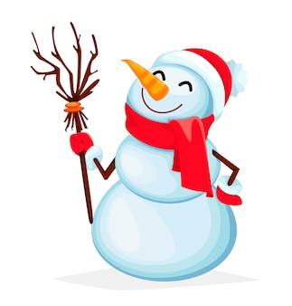 Grappig sneeuwpop stripfiguur