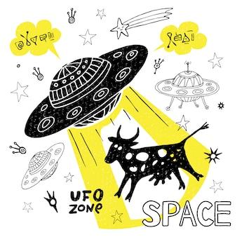 Grappig ufo-ontvoering koe ruimte sterren ruimteschip. leuke coole schets stijl mode sport belettering doodles bericht. hand getekend