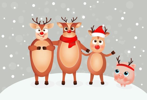 Grappig varken en kerstrendier leuke cartoon varkentje het jaar van het varken chinees nieuwjaar