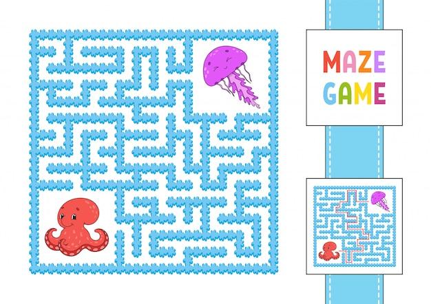 Grappig vierkant doolhof. spel voor kinderen. octopus en kwallen. puzzel voor kinderen.