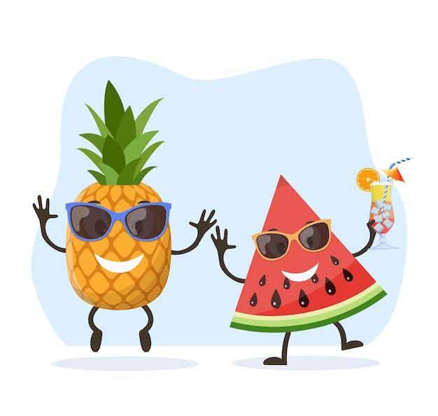 Grappig watermeloen- en ananaskarakter