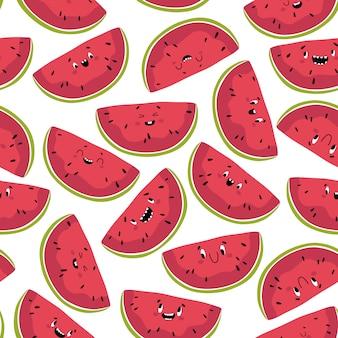 Grappig watermeloen naadloos patroon. segmenten van heerlijke zomerfruit met verschillende kawaii emoties in een leuke platte cartoon-stijl. isoleer op een witte achtergrond