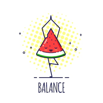 Grappig watermeloenkarakter dat zich in boom bevindt stelt vrikshasana. yoga lessen.