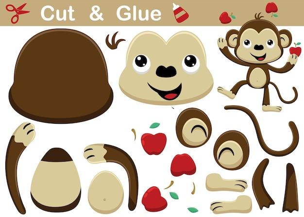 Grappige aap cartoon jongleren met fruit. onderwijs papier spel voor kinderen. uitknippen en lijmen