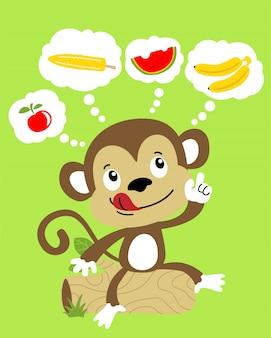 Grappige aap die over vruchten denkt