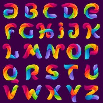 Grappige alfabetletters gevormd door gedraaide lijnen.