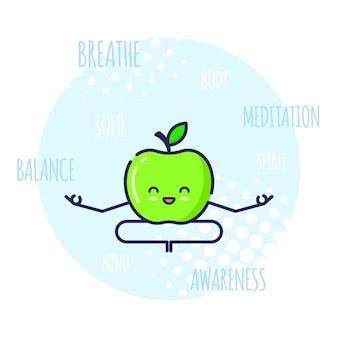 Grappige apple-personage mediteren in lotos pose padmasana. yoga lessen.