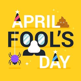 Grappige april dwazen dag plat ontwerp