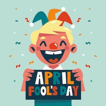 Grappige april dwazendag en lachend kind