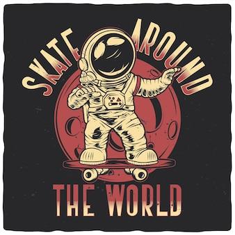 Grappige astronaut op een skateboard
