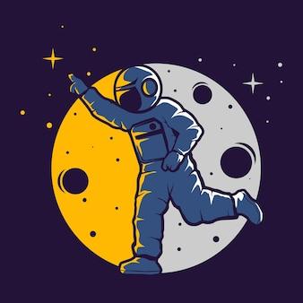 Grappige astronauten zijn vrij om zich uit te drukken
