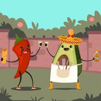 Grappige avocado en chili op een mexicaans feest in de achtertuin