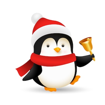 Grappige baby pinguïn bellende bel