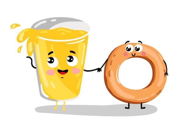 Grappige bagel en limonade glas stripfiguur