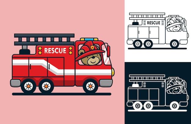 Grappige beer die brandweermanhelm op brandweerwagen draagt. vectorbeeldverhaalillustratie in vlakke pictogramstijl