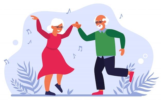Grappige bejaarde echtpaar dansen