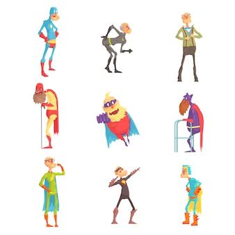 Grappige bejaarde superman stripfiguren in actieset van illustraties