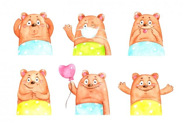 Grappige beren die emoties uitdrukken