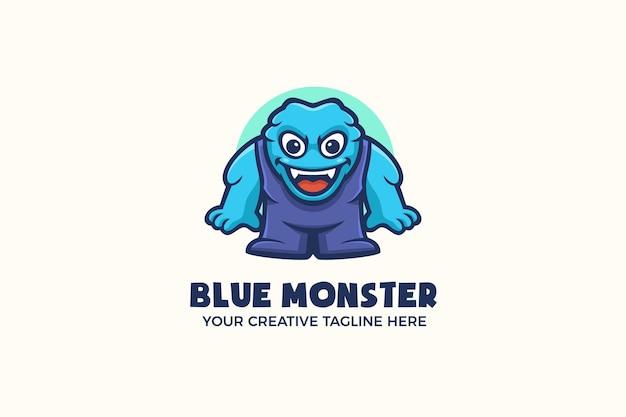 Grappige blauwe monster mascotte karakter logo sjabloon