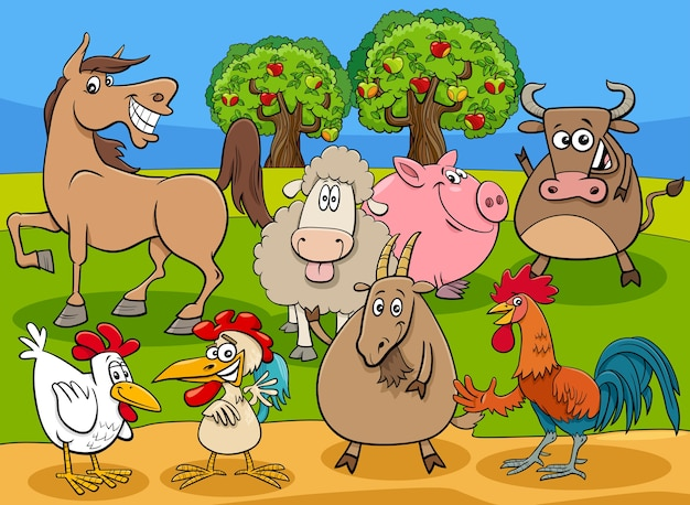 Grappige boerderijdieren stripfiguren groep