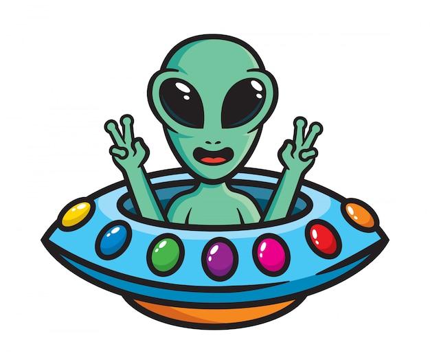 Grappige buitenaardse mascotte illustratie