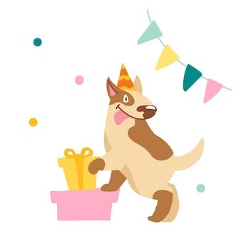 Grappige bull terrier met tong uitsteekt staan op geschenkdozen. schattige hond karakter vieren verjaardag. huisdier in feestelijke hoed met ingepakte cadeautjes, garland en confetti. cartoon vectorillustratie