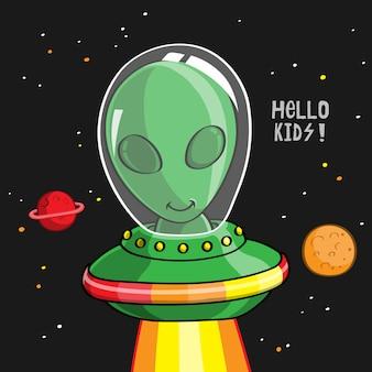 Grappige cartoon alien, hand getrokken
