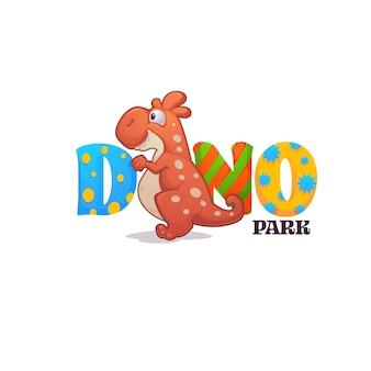 Grappige cartoon baby-dinosaurus en heldere letters Premium Vector