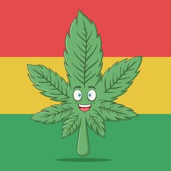 Grappige cartoon cannabis marihuana karakter
