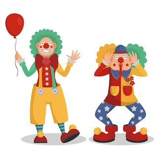 Grappige cartoon circus clowns vector illustratie.