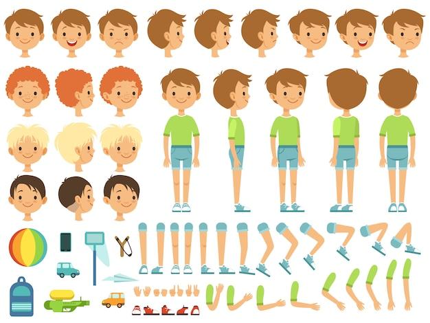 Grappige cartoon creatie mascotte kit met kinderen speelgoed en verschillende lichaamsdelen