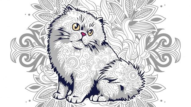 Grappige cartoon dikke kat met florale achtergrond in gestileerde zentangle