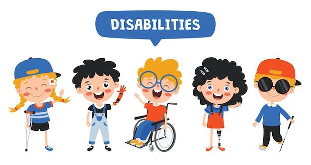 Grappige cartoon gehandicapte jongen poseren