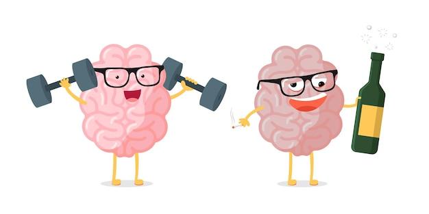 Grappige cartoon hersenen karakter paar gezond versus ongezond. vergelijking menselijke anatomie inwendig orgaan mascotte blij slim met dumbells en dronken met alcoholfles en sigaret. vector illustratie