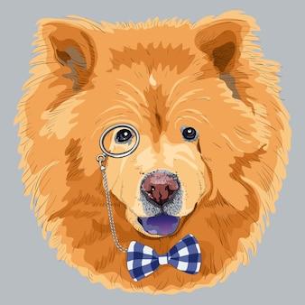 Grappige cartoon hipster chow-chow hond