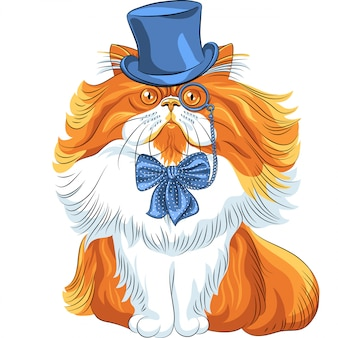 Grappige cartoon hipster perzische kat