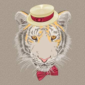 Grappige cartoon hipster tijger