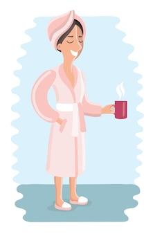 Grappige cartoon illustratie van vrouw in roze badjas is ontspant.