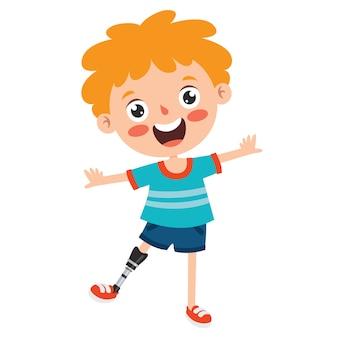 Grappige cartoon karakter met behulp van prothese