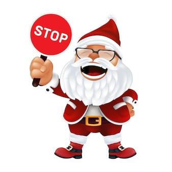 Grappige cartoon kerstman in een rode hoed en bril.