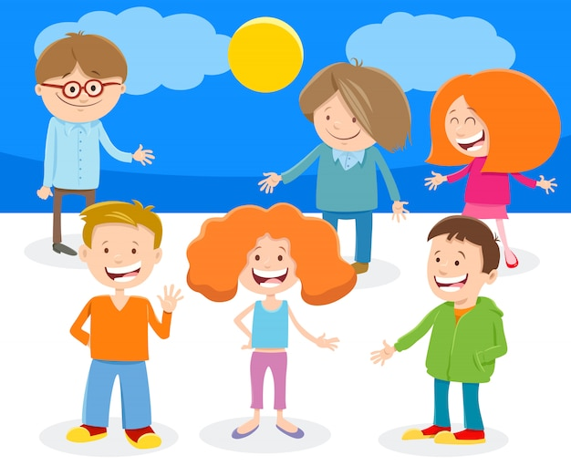 Grappige cartoon kinderen tekens groep