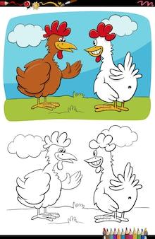 Grappige cartoon kippen praten kleurboekpagina