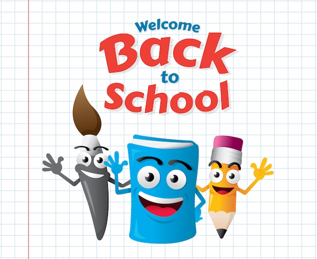 Grappige cartoon mascottes van het onderwijs