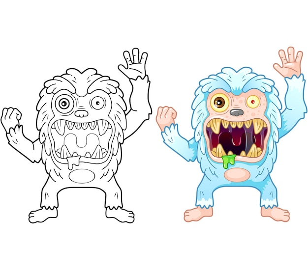 Grappige cartoon monster bigfoot