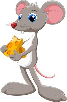 Grappige cartoon muis met stuk kaas