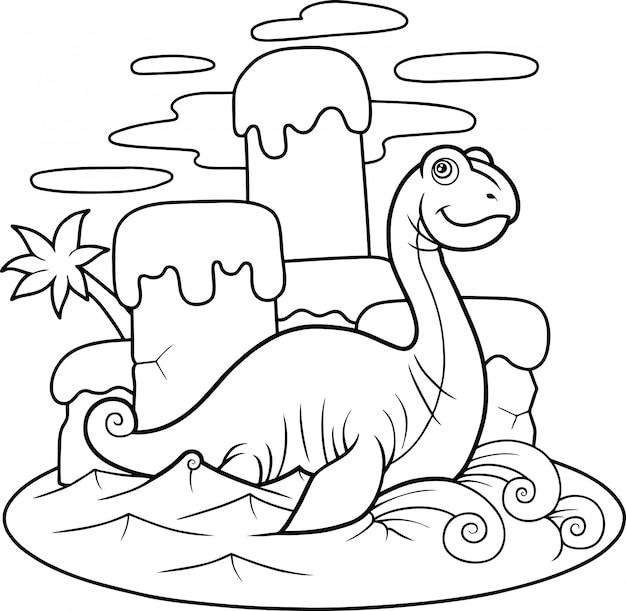 Grappige cartoon plesiosaur