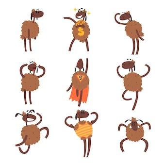 Grappige cartoon schapen tekenset, bruine schapen in verschillende situaties kleurrijke illustraties op een witte achtergrond