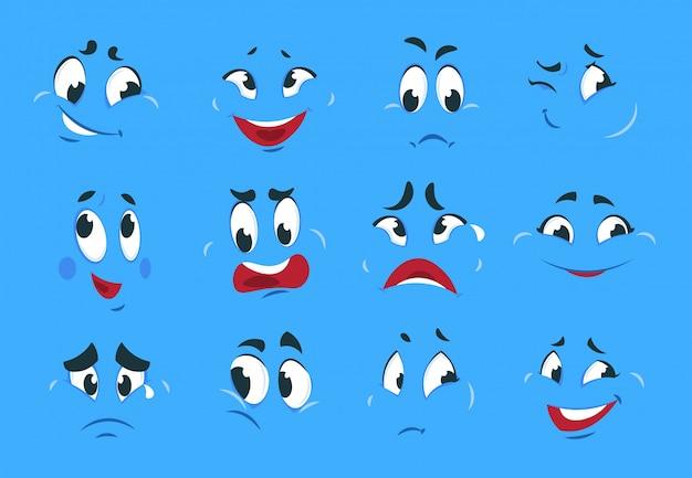 Grappige cartoon uitdrukkingen. boze boze gezichten gek karakter schetst leuke glimlach komische karikatuur smileygezicht.
